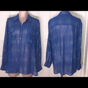 ♡ Ellen Tracy Sheer Button Up ♡